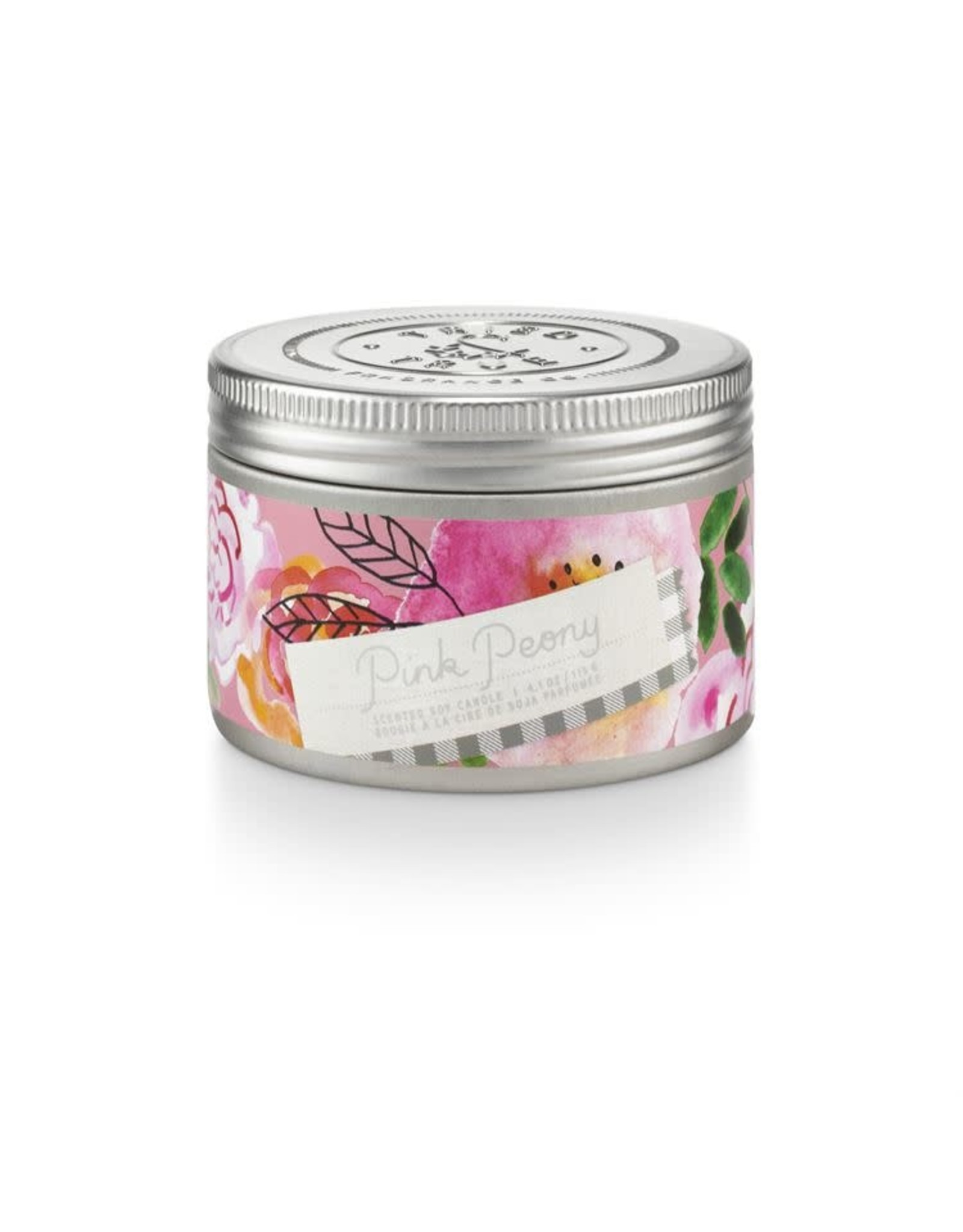 Illume 4.1oz Small Tin Candle - Pink Peony