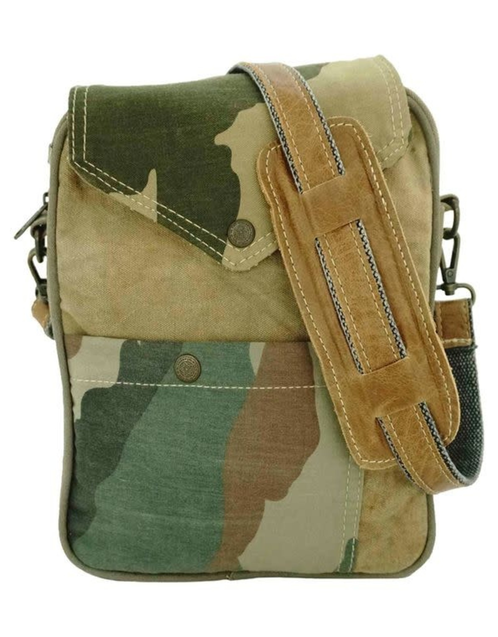 Vintage Addiction Recycled Military Tent Crossbody - Camo