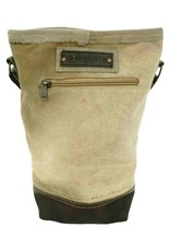Vintage Addiction Recycled Military Tent Crossbody w/Leather