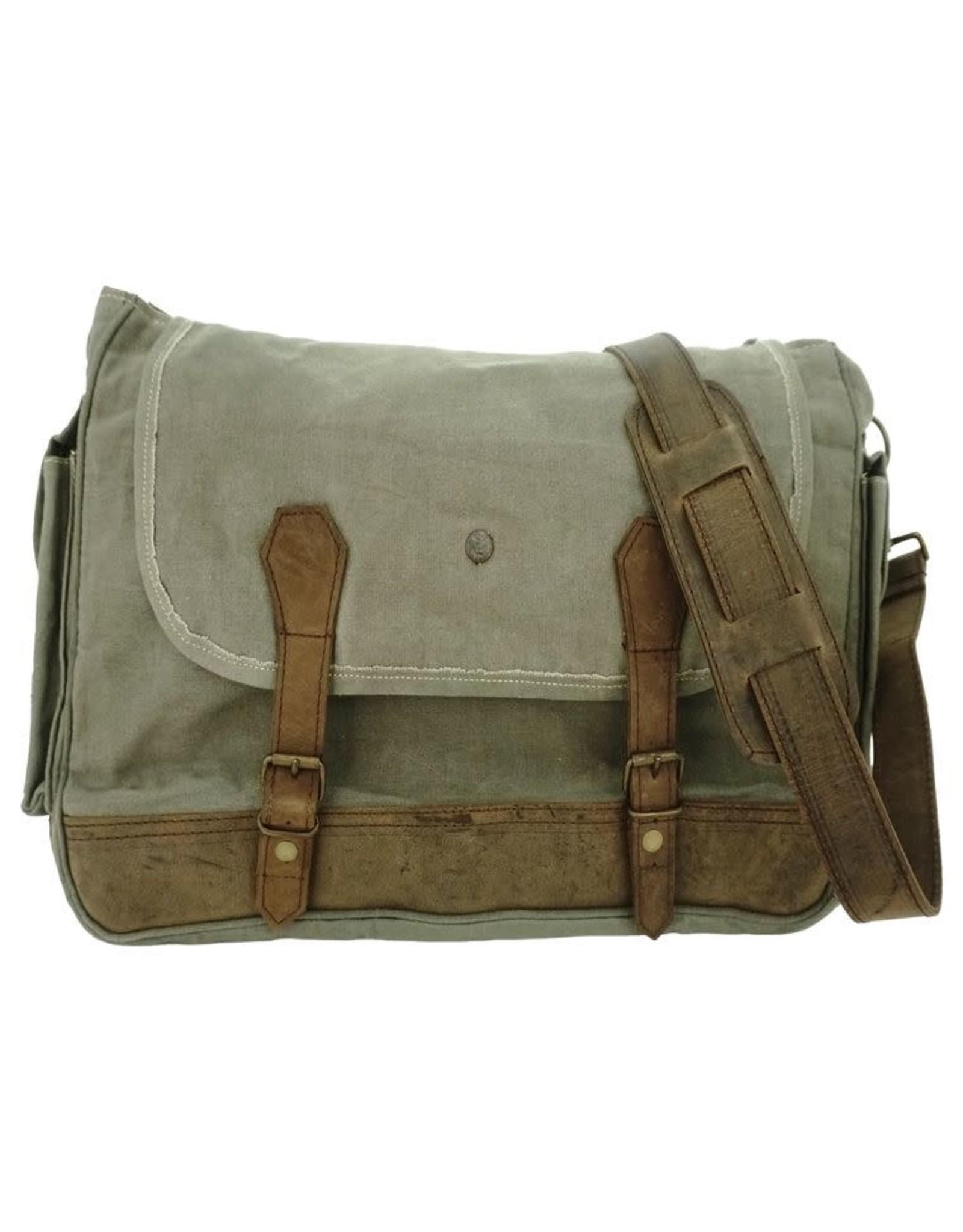Vintage Addiction Military Tent Crossbody/Messenger Bag - Olive