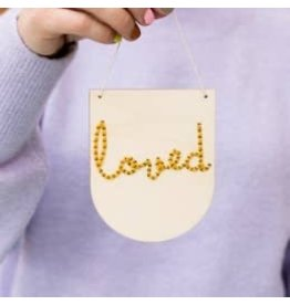 Cotton Clara Loved Embroidery Banner Kit - Mustard