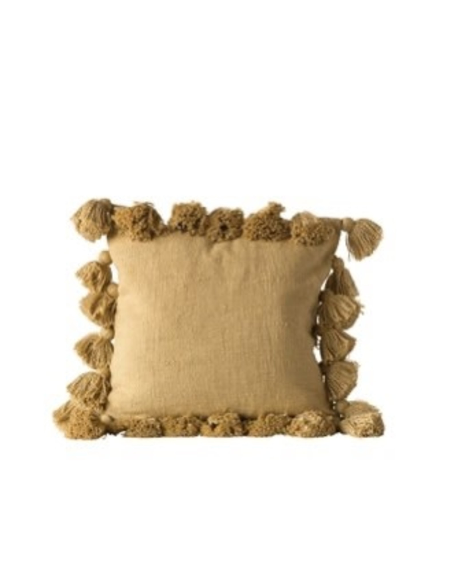 "Creative Co-op 18"" Square Cotton Pillow w/tassels - mustard"