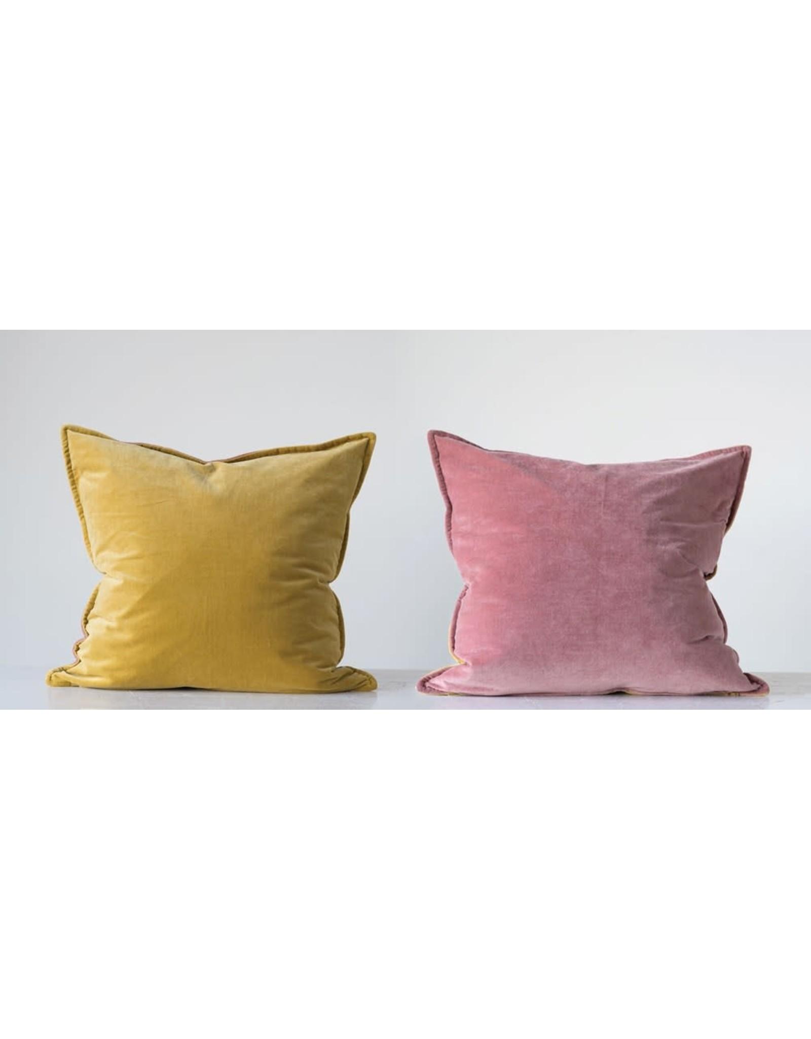 """Creative Co-op 24"""" Reversible Velvet Pillow - Mustard & Rose"""