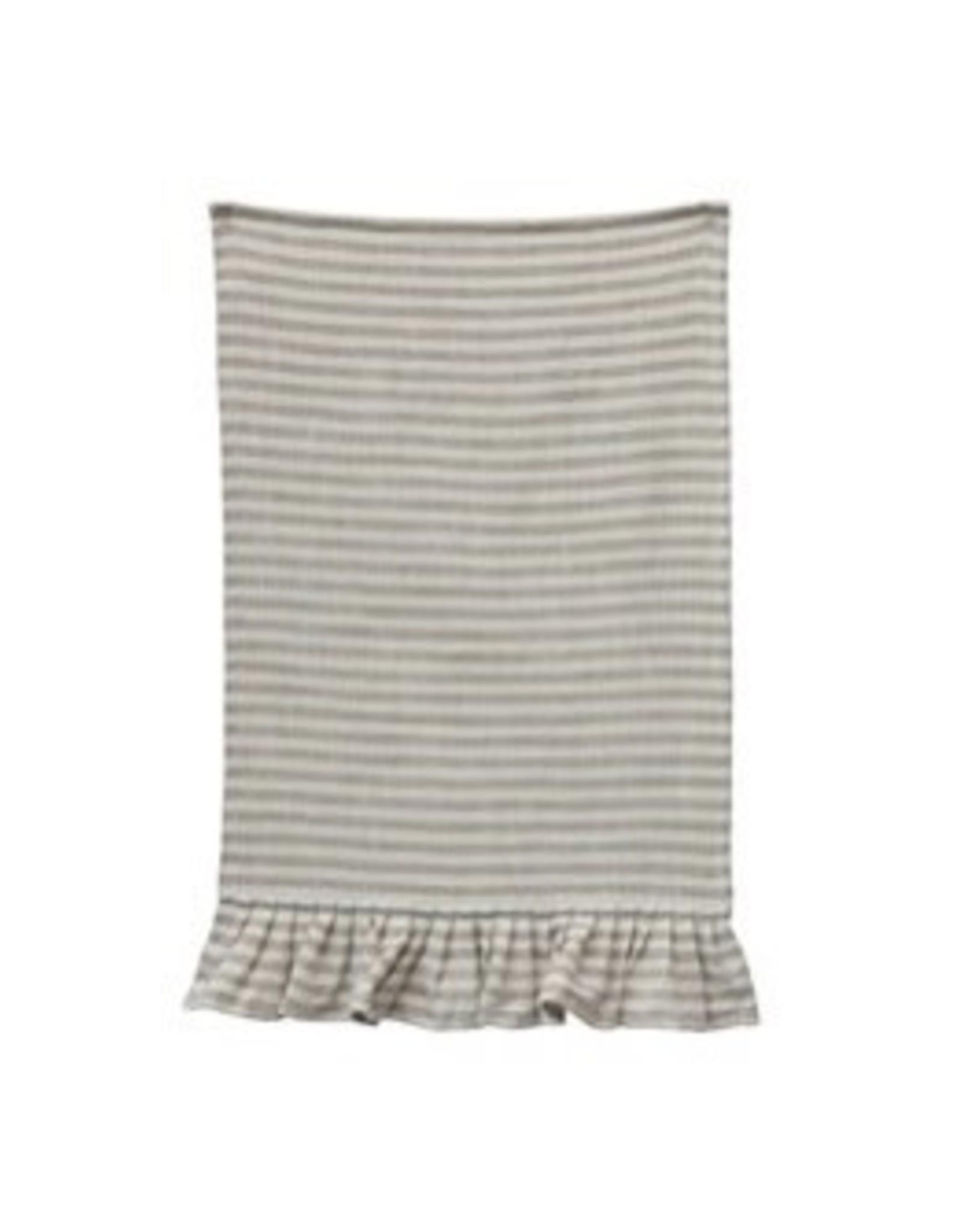 "Creative Co-op 28""L x 18""W  Striped Tea Towel w/ Ruffle - Natural"