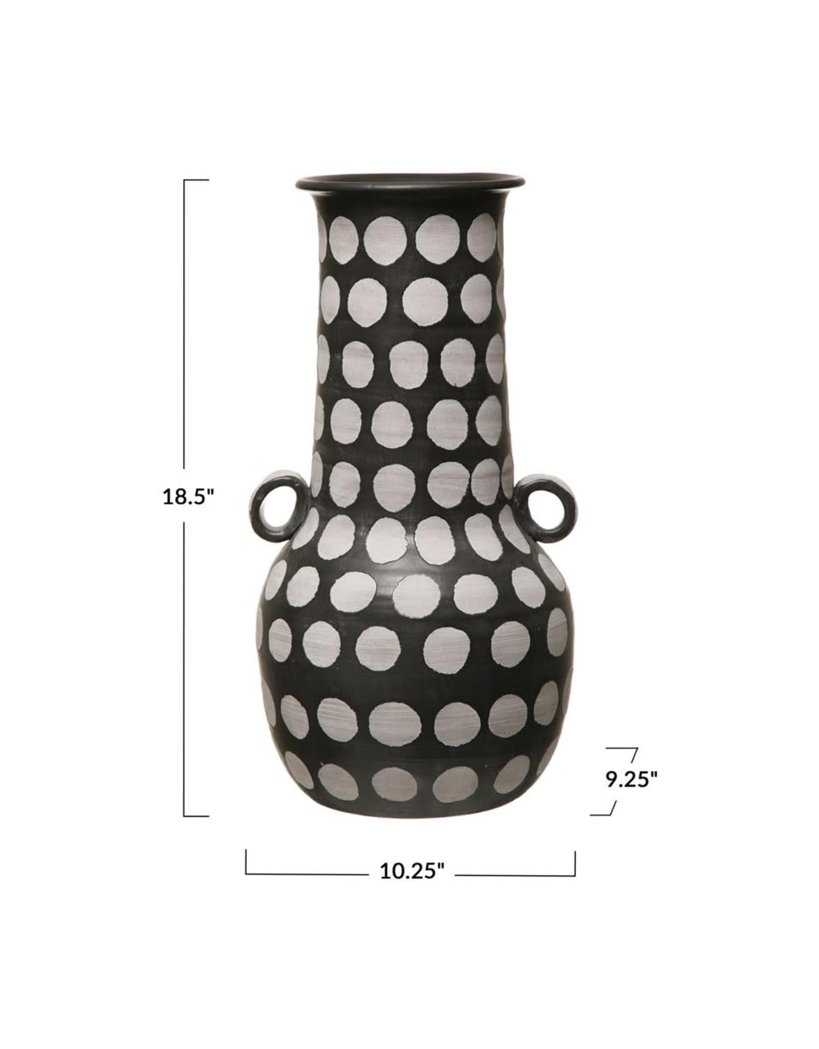 "Creative Co-op 18 1/2"" Hand Painted Terracotta Vase - B&W"
