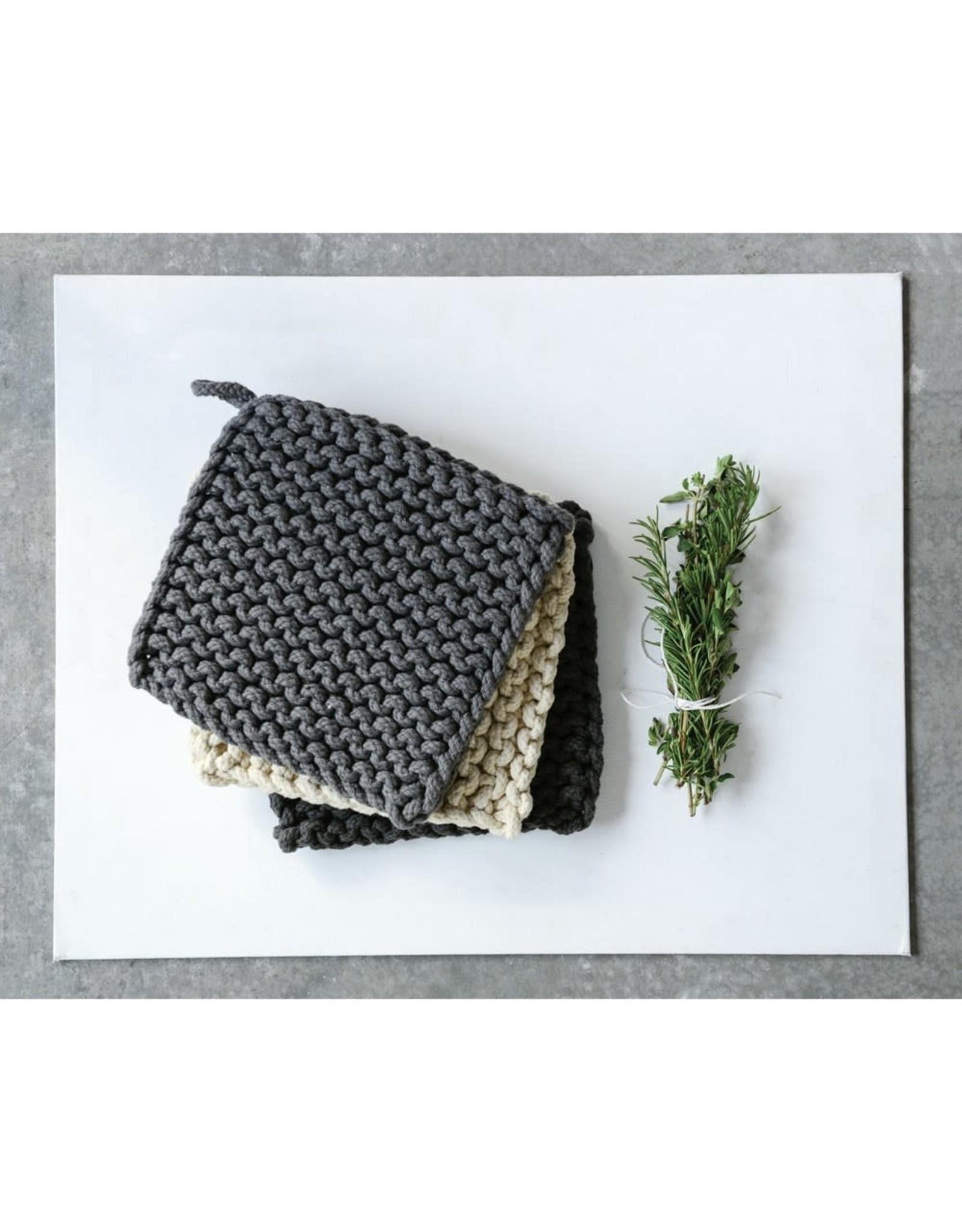 """Creative Co-op 8"""" Square Cotton Crochet Pot Holder"""
