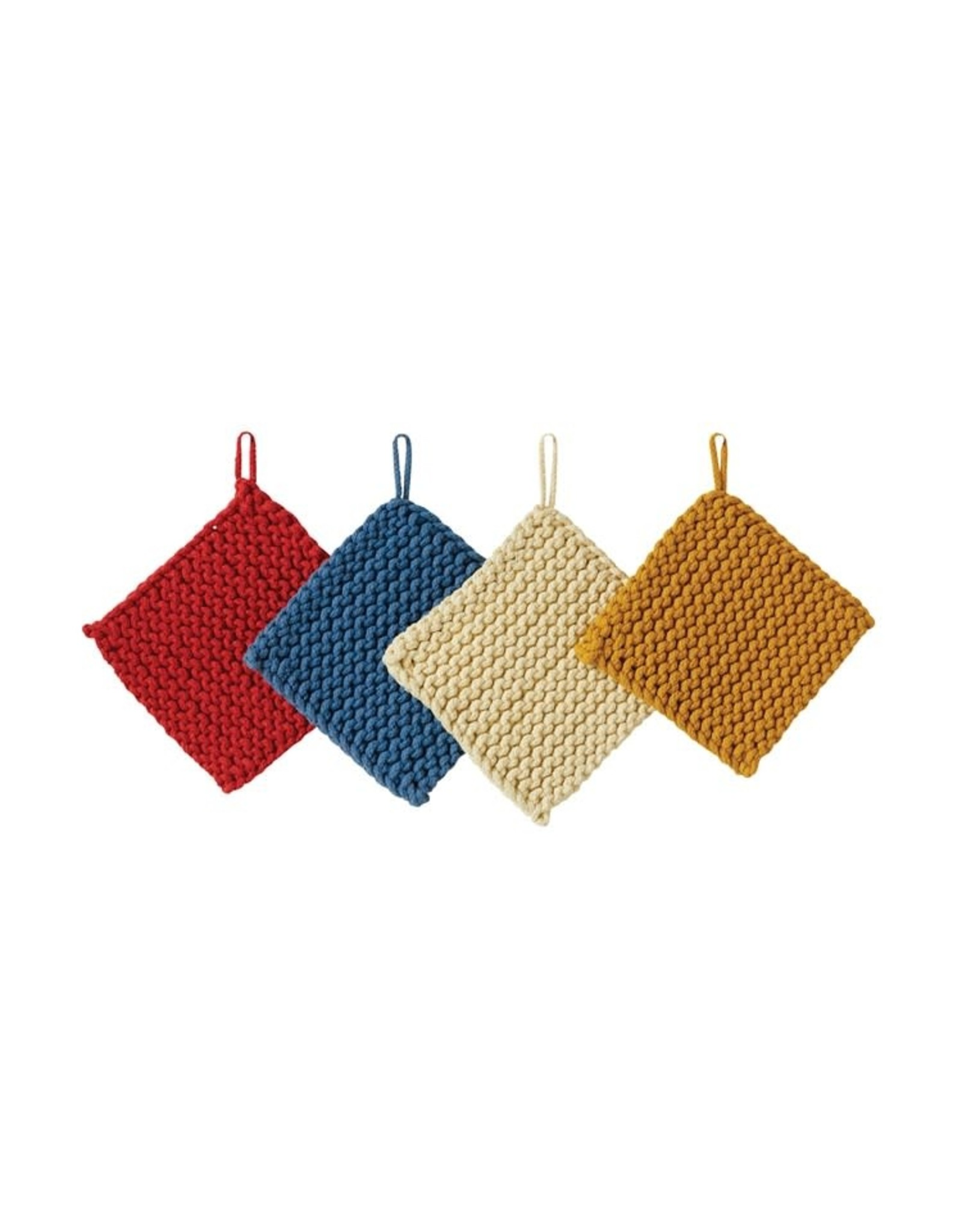"Creative Co-op 8"" Square Cotton Crochet Pot Holder"