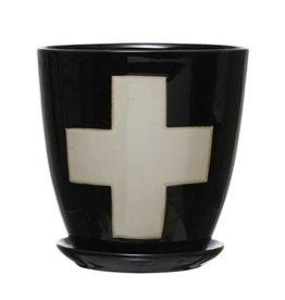 """Creative Co-op 6 1/4"""" H B&W Swiss Cross Planter w/ Saucer"""