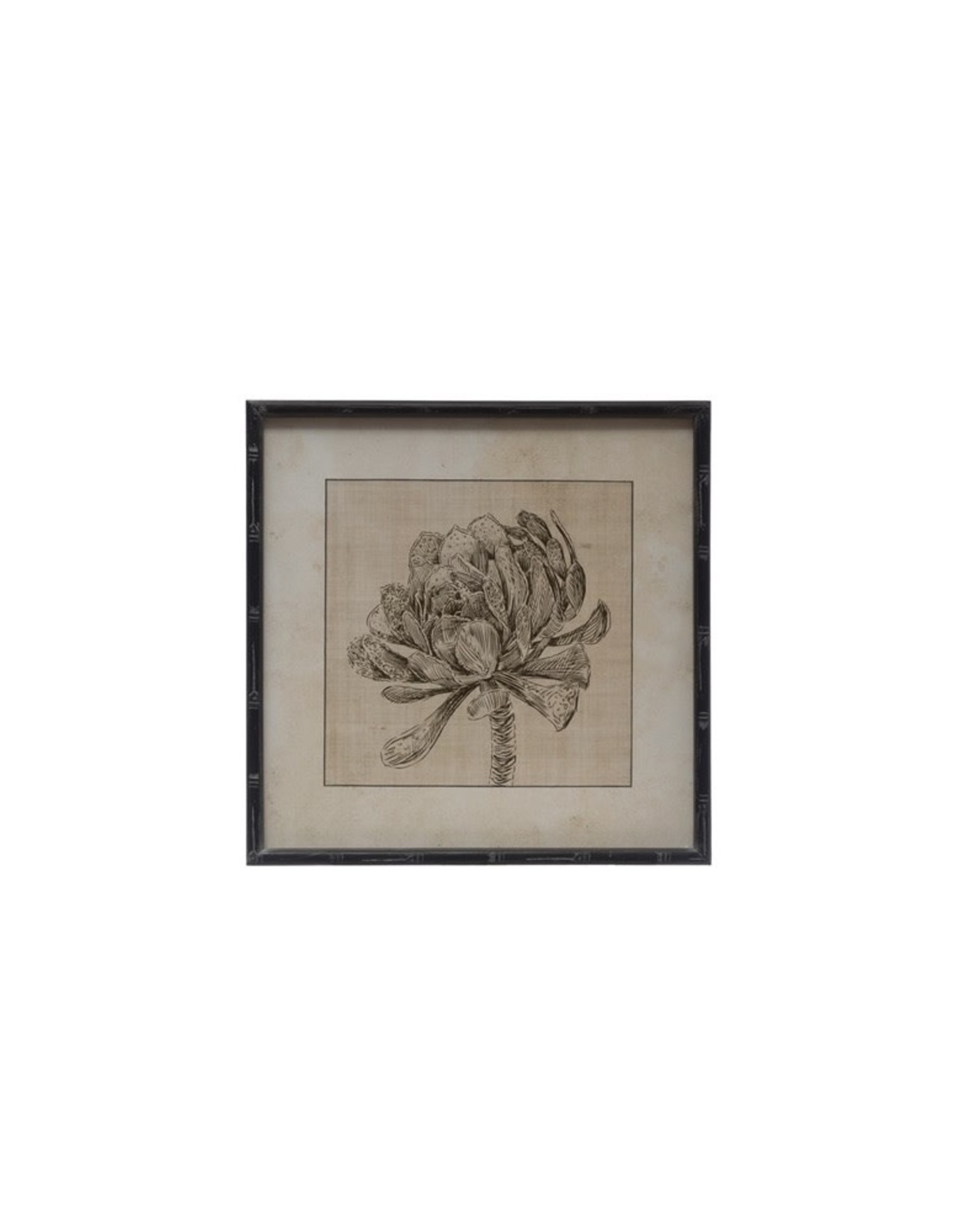 """Creative Co-op 20"""" Square Wood Framed Wall Art - Dried Floral"""