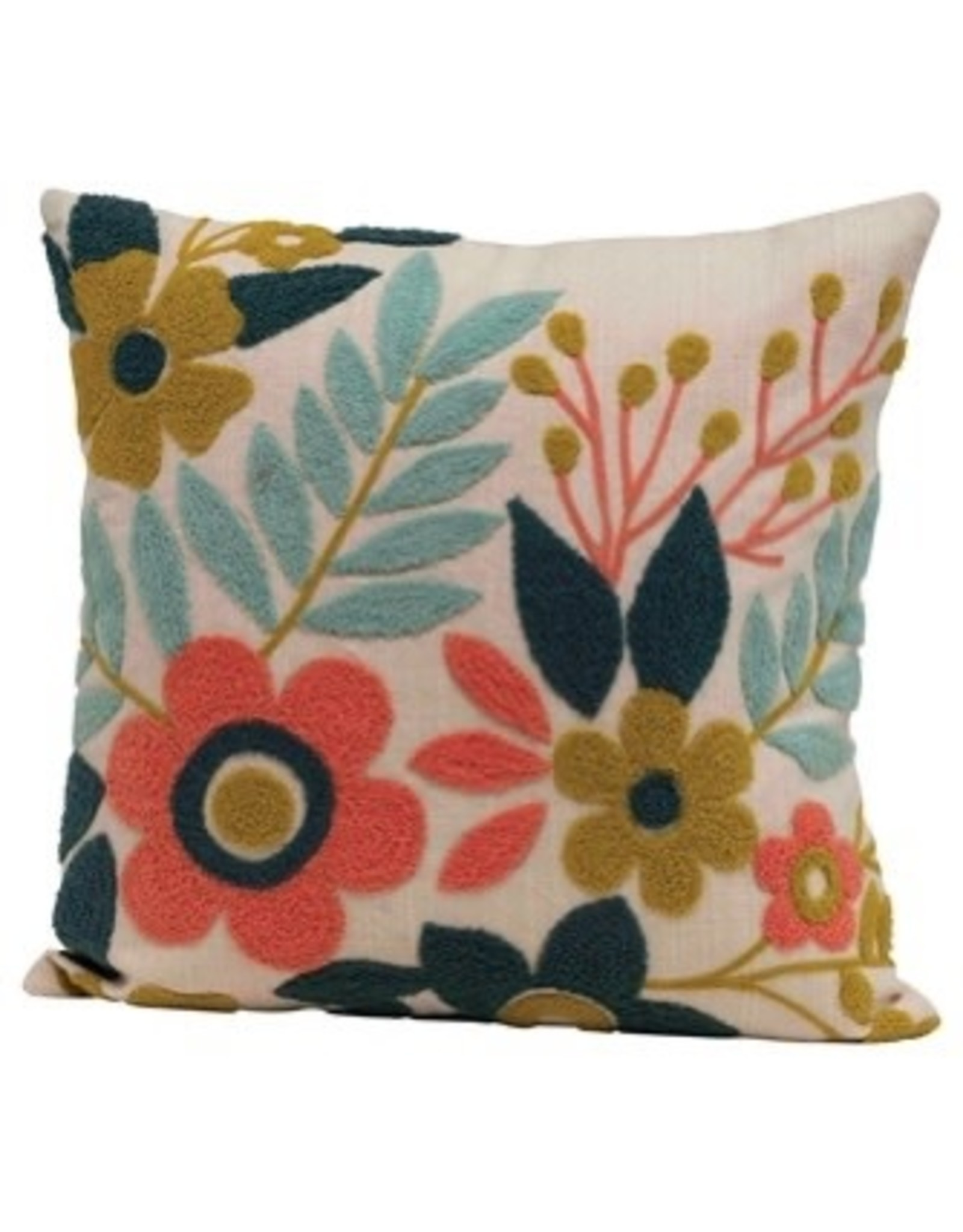 """Creative Co-op 18"""" Multi Color Embroidered Floral Pillow"""