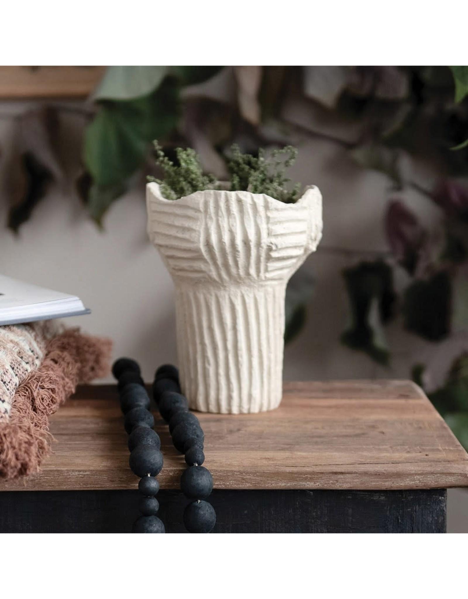 "Creative Co-op 7 1/2"" H Handmade Paper Mache Vase - Natural"