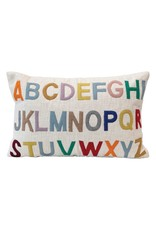 """Creative Co-op 16"""" Lumbar Pillow w/ Embroidered ABC's - Multi Color"""