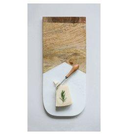"""Creative Co-op 17 1/2"""" Marble & Mango Wood Cutting Board w/ Knife"""