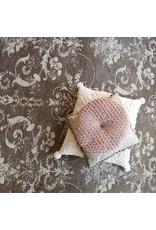 "Creative Co-op 18"" Round Velvet Pillow w/ Woven Pattern - Blush"