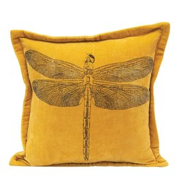 "Creative Co-op 16"" Dragonfly Cotton Velvet Pillow"