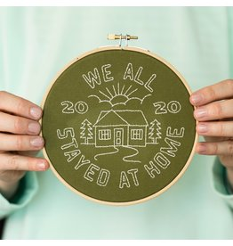Cotton Clara We All Stayed at Home Embroidery Hoop Kit - Khaki