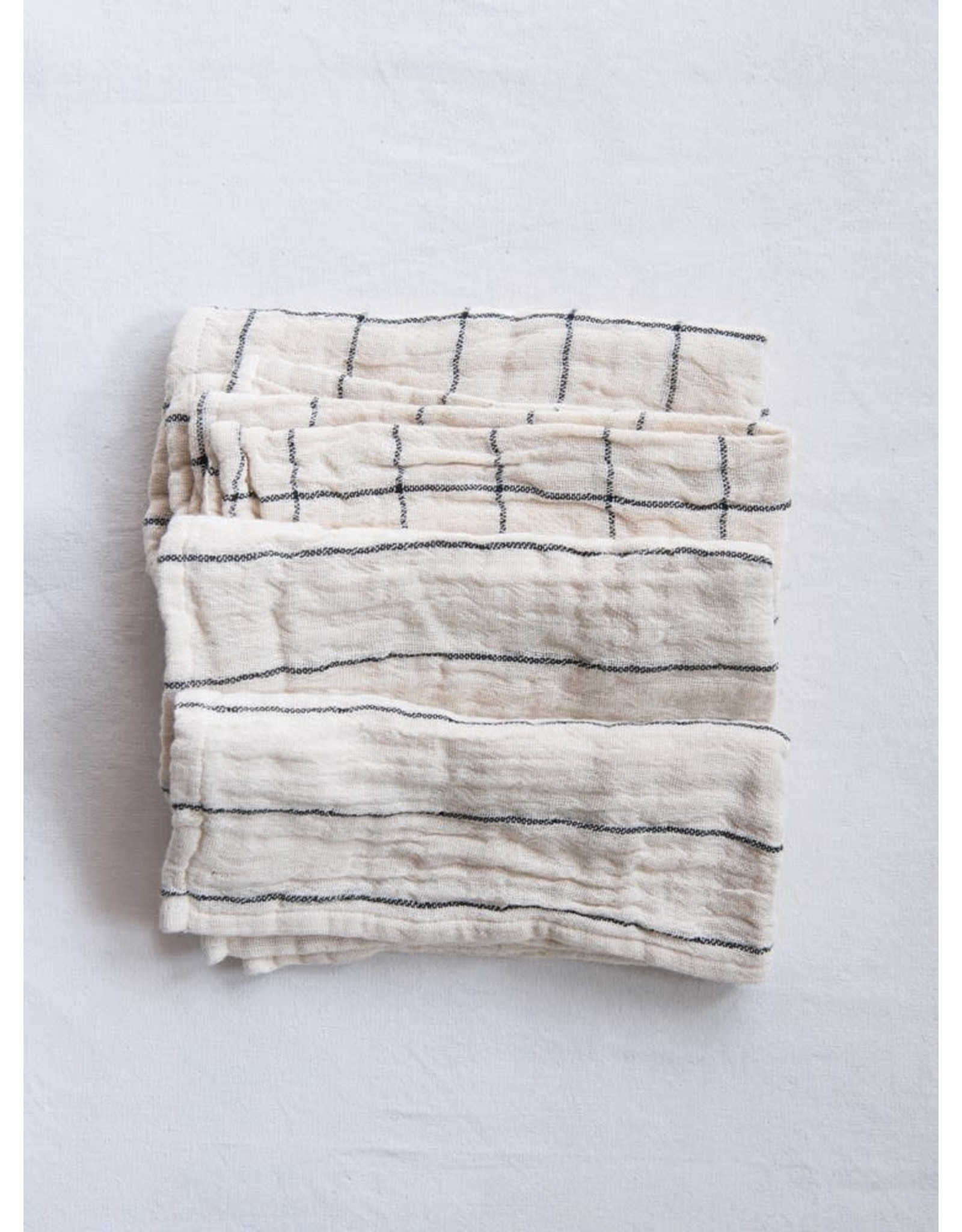 "Creative Co-op 18"" Woven Napkins Set w/ Plaid & Stripes - Natural"