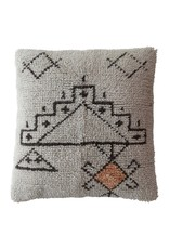"""Creative Co-op 24"""" Wool & Cotton Tufted Pillow w/ Abstract Design"""