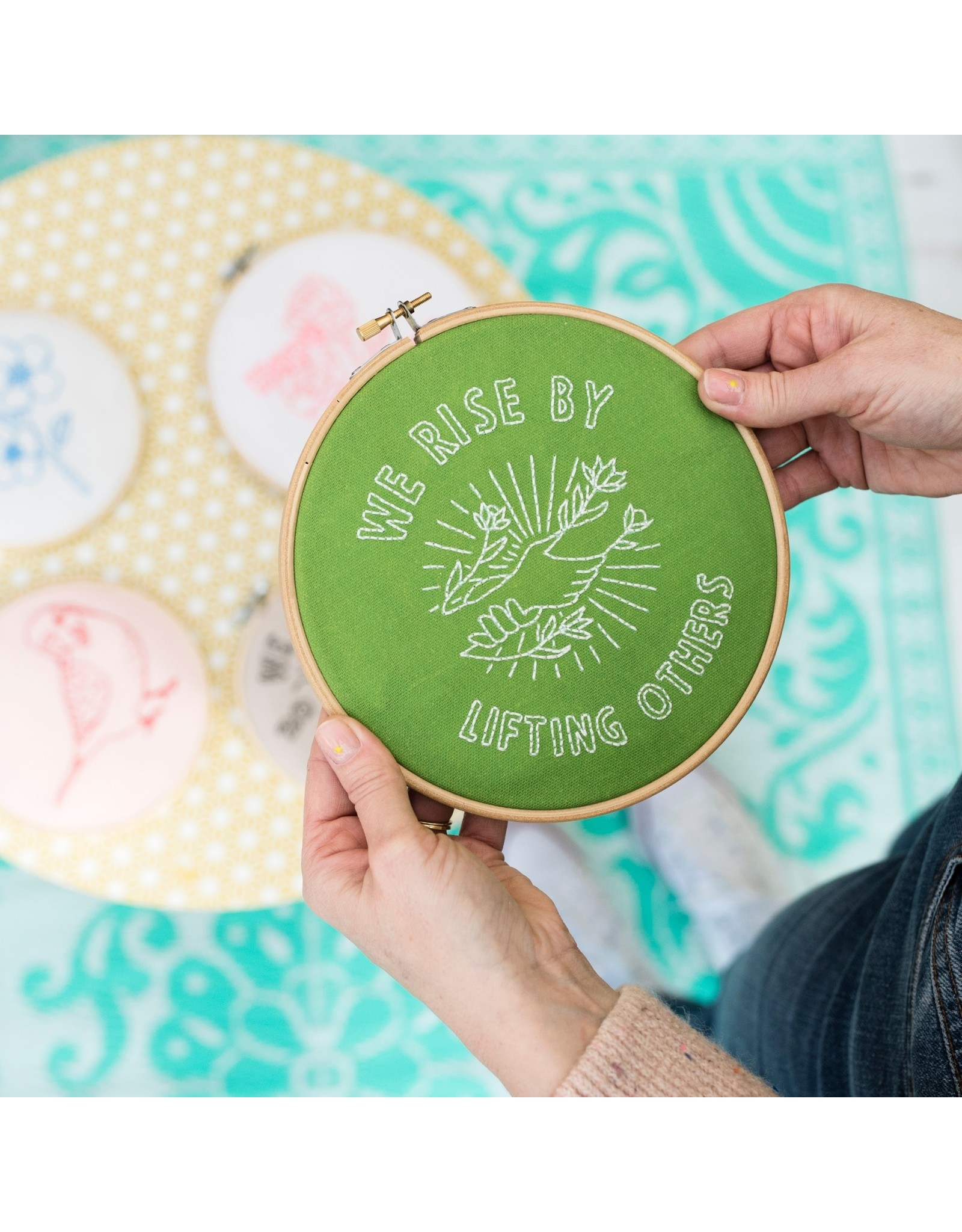 Cotton Clara We Rise by Lifting Others Embroidery Kit - Green