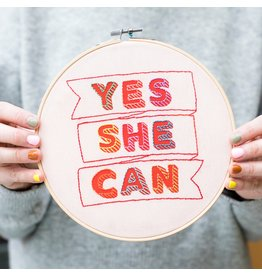 Cotton Clara Yes She Can Embroidery Hoop Kit - Red w/ Multi
