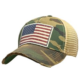 Vintage Life Distressed Baseball Cap - Camo Flag