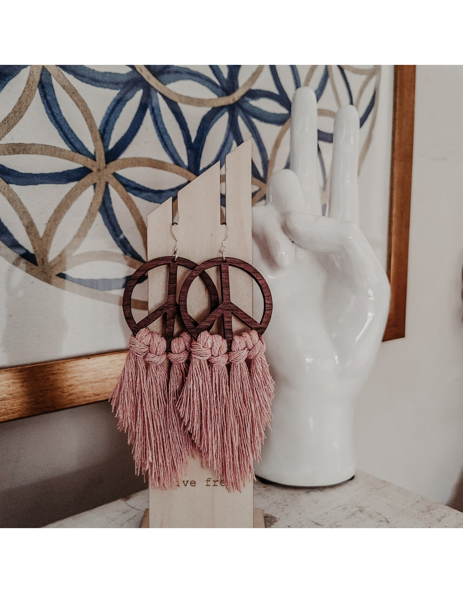 Statement Peace Pink fringe peace sign earrings