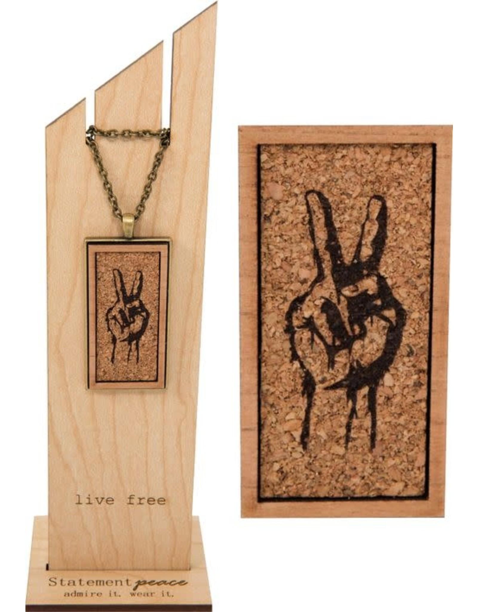 Statement Peace Peace sign cork necklace