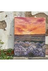 Katie Cahoj Purple Fields, Orange Sunset- Arcylic Painting