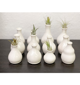 The Florist & The Merchant White hand thrown clay bud vase - fluted