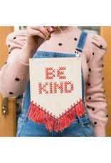 Cotton Clara Be Kind Embroidery Kit - Coral