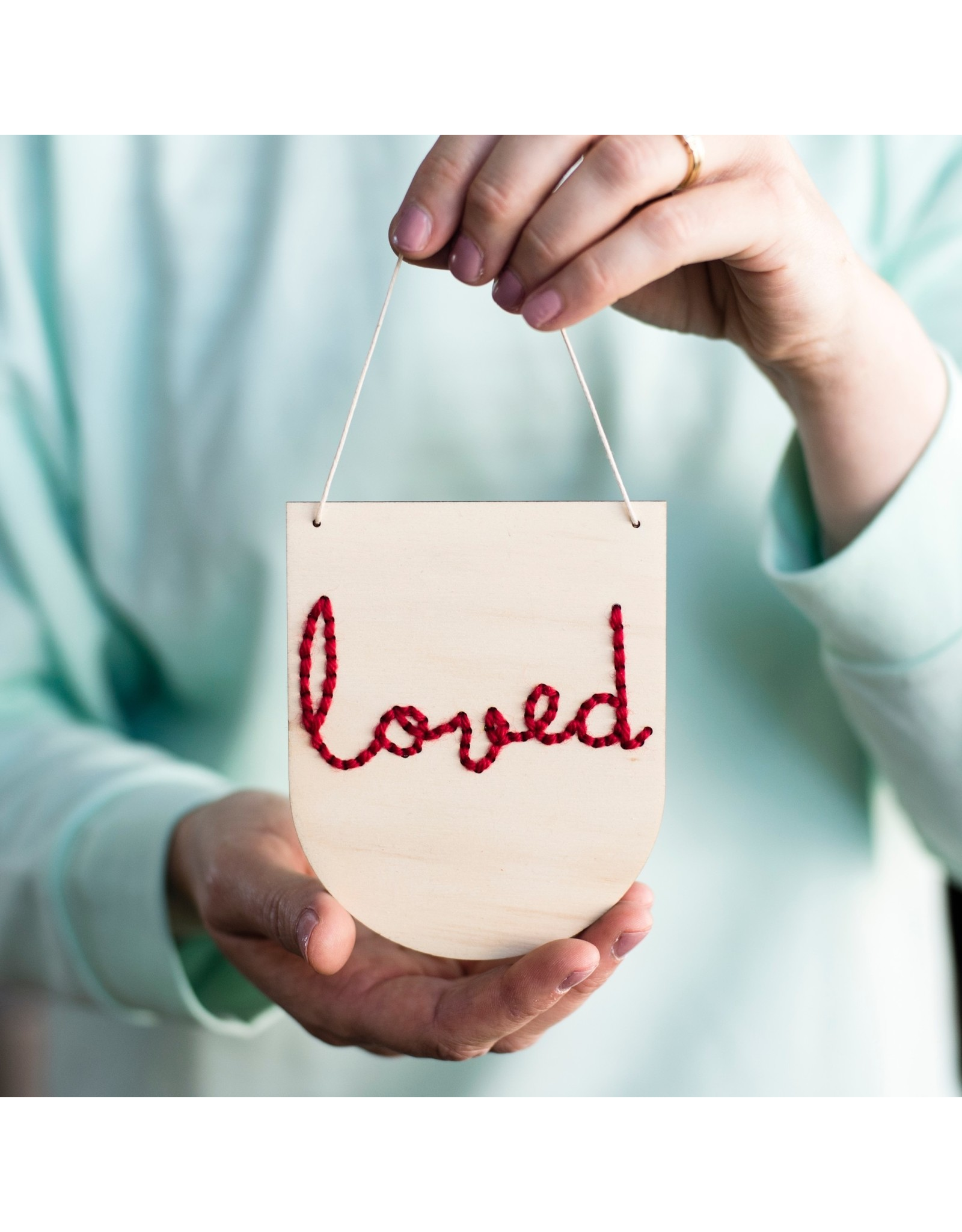 Cotton Clara Loved Embroidery Banner Kit - Red