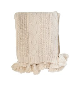 """Creative Co-op 60"""" L Cotton Knit Cable Throw w/ Tassels - Natural"""