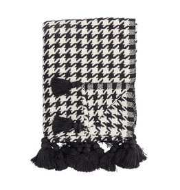Bloomingville Cotton Woven Houndstooth Throw w/ Tassels, B&W