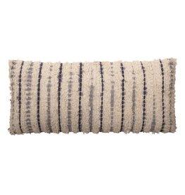 "Bloomingville 36"" Woven Tie Dye Lumbar Textured Pillow"