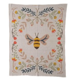 Creative Co-op Cotton Knit Baby Blanket w/ Bee, Multi Color