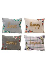 Creative Co-op Embroidered Patterned Pillow w/ Words, 4 Styles