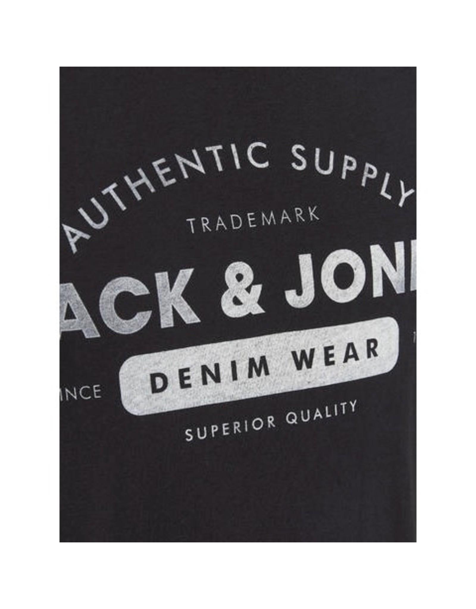 Jack & Jones Logo Crew Neck Tee - Black