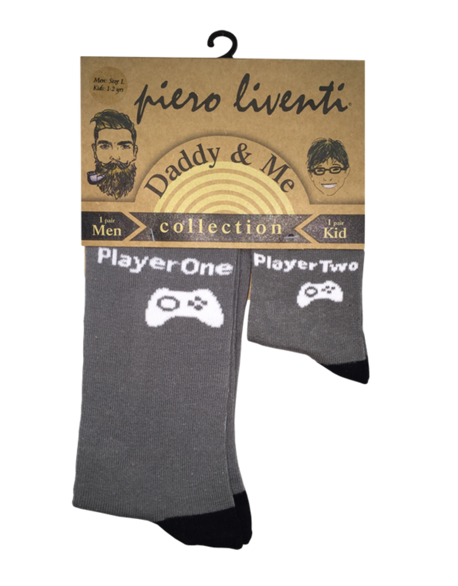 Piero Liventi Daddy & Me Sock Set - Player One/Two