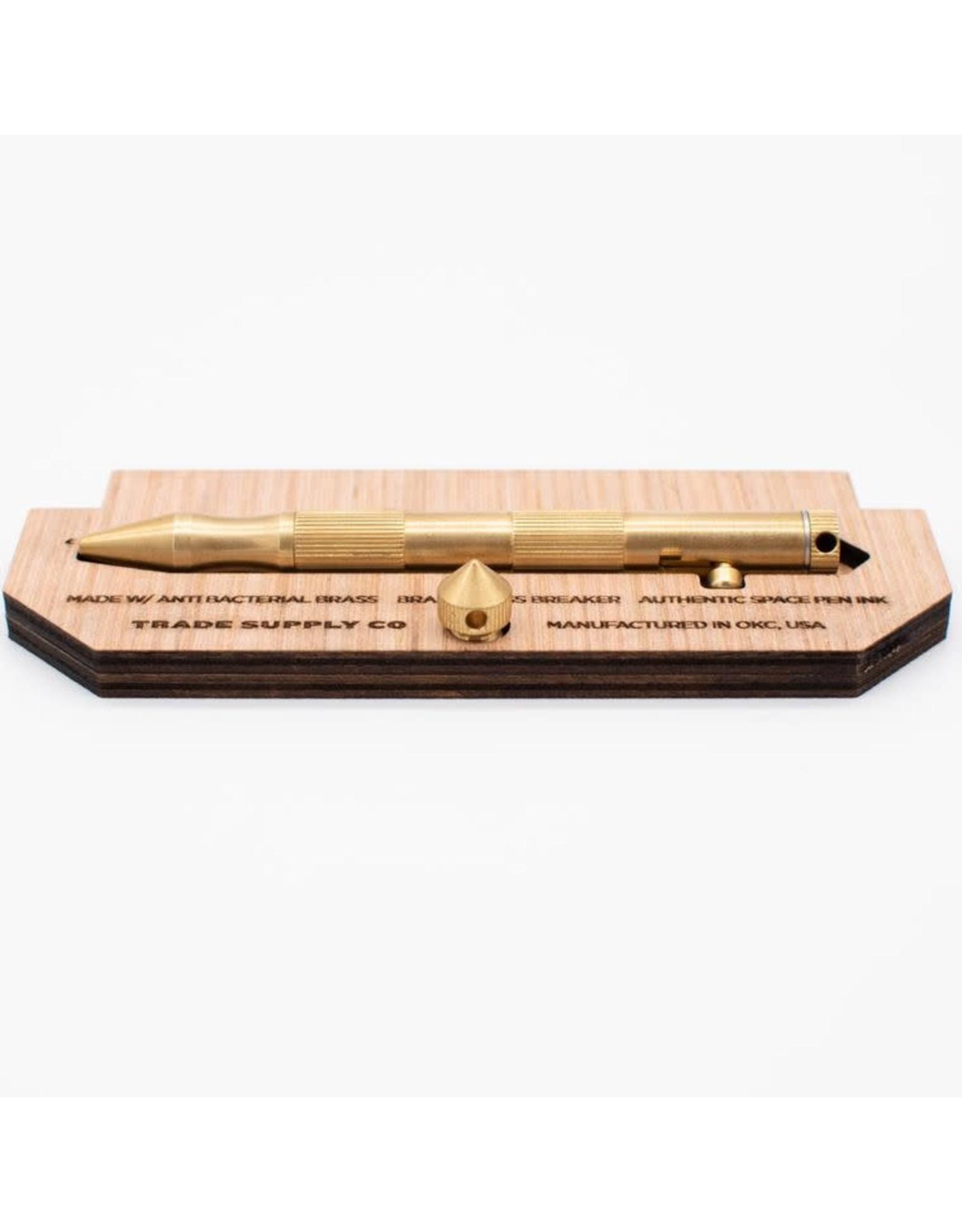Trade Supply Co. The Cutlass Brass Bolt Action Pen- Matte Brass