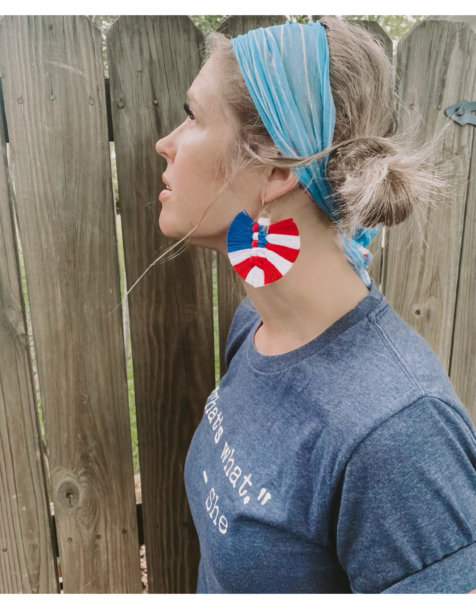 Timber Rose Designs Macrame Feather Earrings - Red, White & Blue