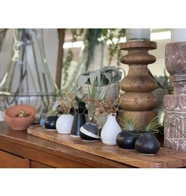 The Florist & The Merchant Black hand thrown clay bud vase - fluted