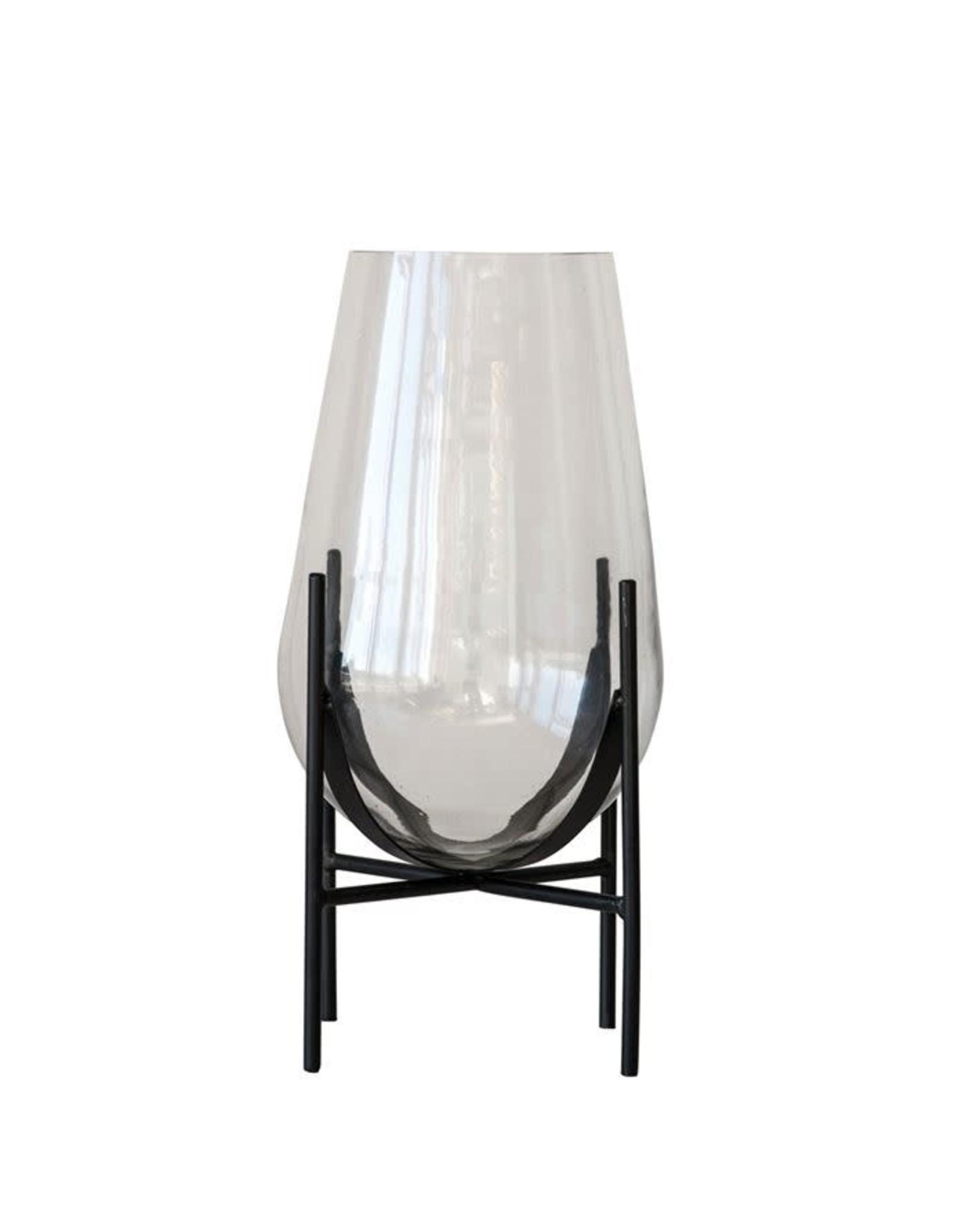 "Bloomingville 15 3/4"" H Glass Vase w/ Metal Stand"