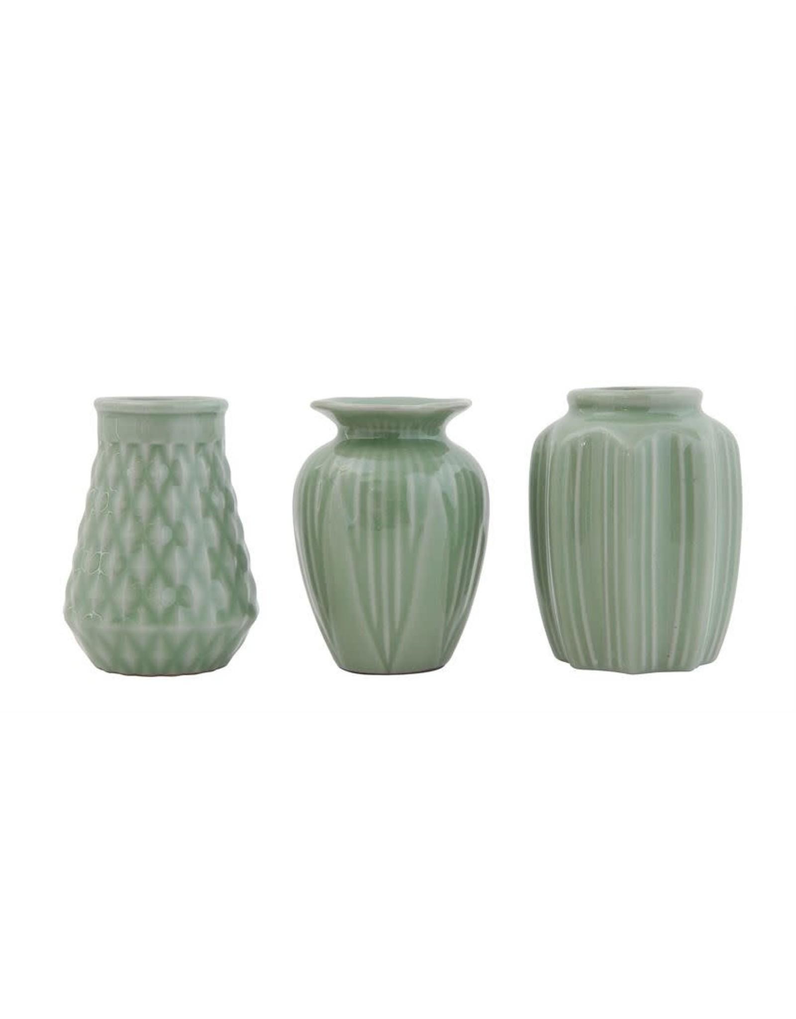 """Bloomingville 4"""" H Jade Crackle Vase"""