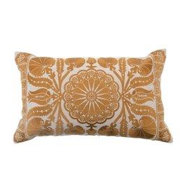 Bloomingville Embroidered Lumbar Pillow - Gold/Tan