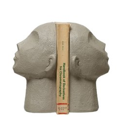 Bloomingville Face Bookends, Grey - Set of 2