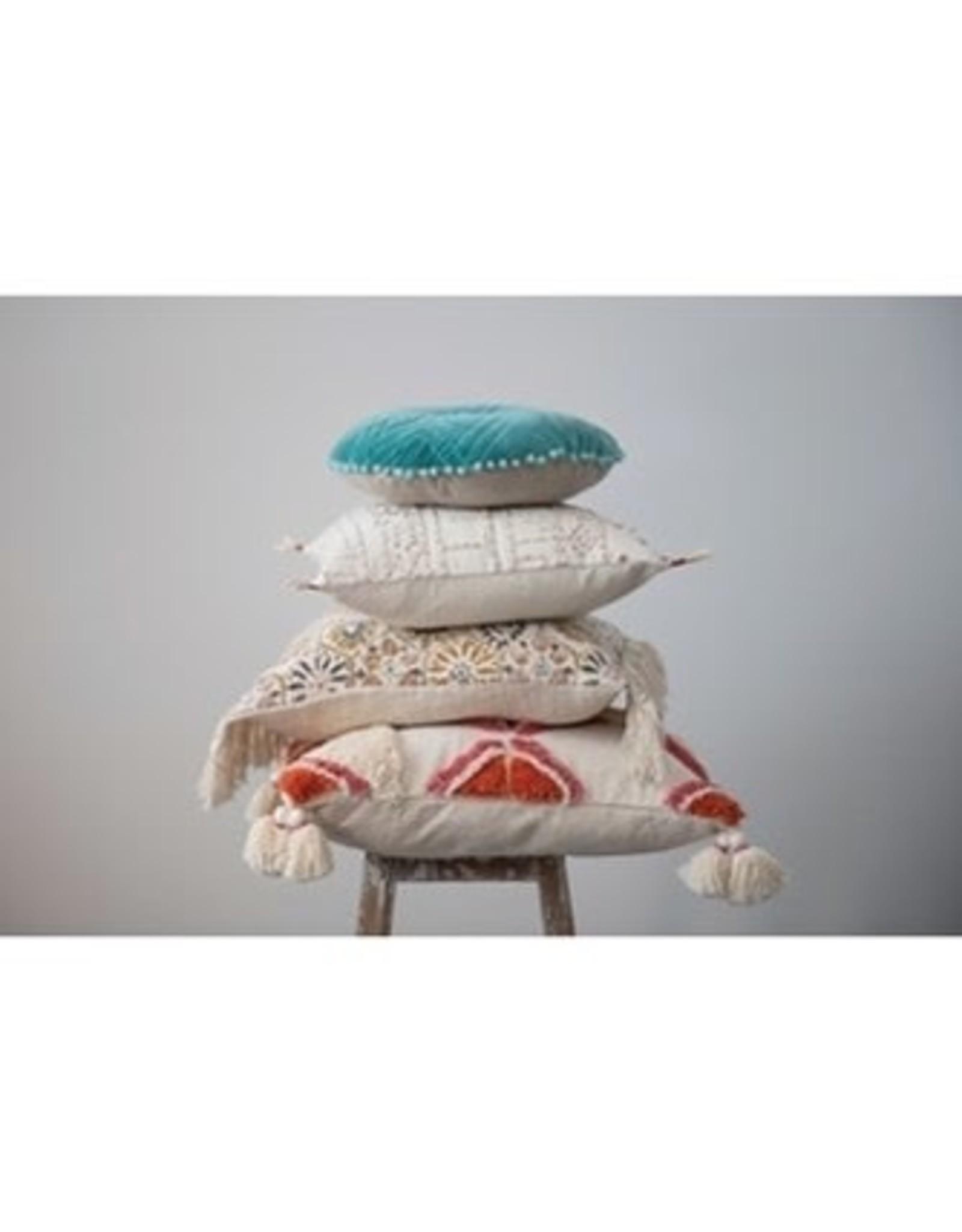 "The Florist & The Merchant 16"" Velvet Embroidered Pillow - Turquoise"