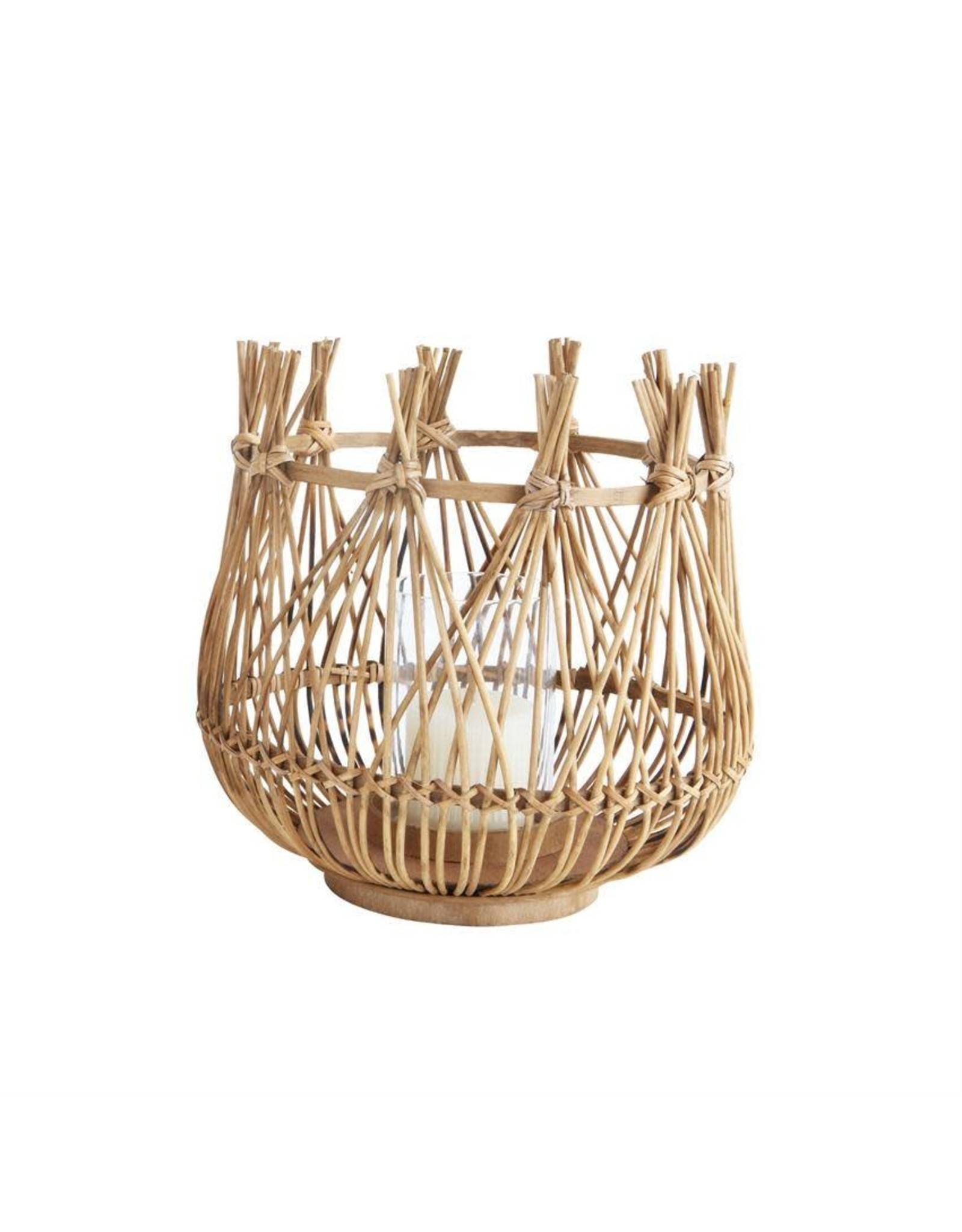 """The Florist & The Merchant 12 1/2"""" Bamboo Candle Holder w/ Glass Insert"""