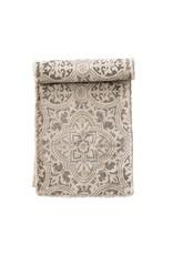 The Florist & The Merchant Cotton Printed Table Runner, Grey & Cream