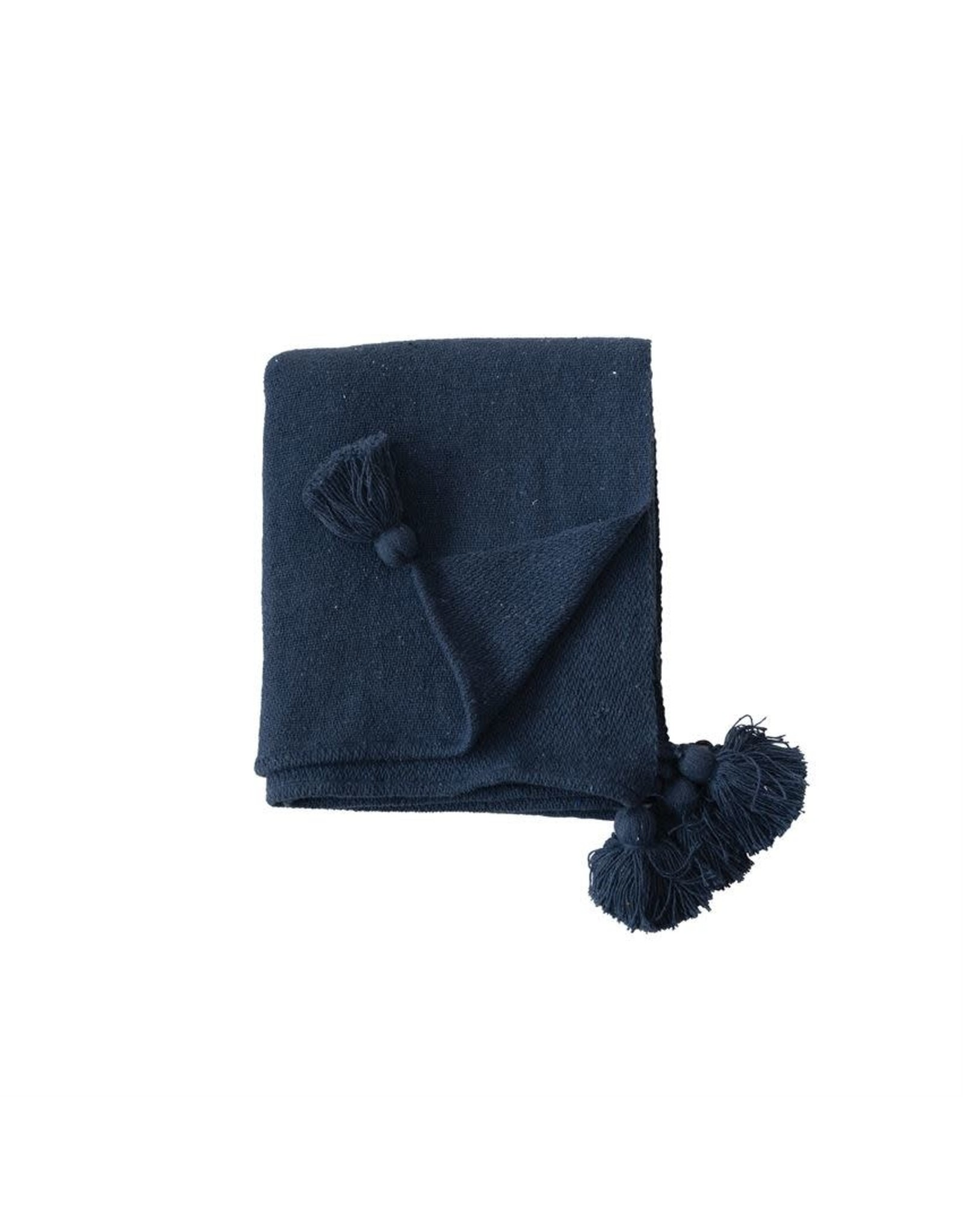 """The Florist & The Merchant 60"""" x 50"""" Recycled Cotton Throw - Navy"""