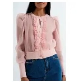 The Florist & The Merchant Ruffled Front Chiffon Cardigan - Pink